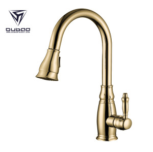 OUBAO Gold Kitchen Sink Faucet With Healthy Copper Waterway And Long Reach Flexible Hose