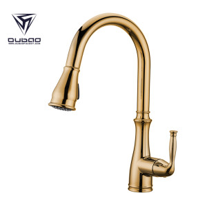 OUBAO Gold Plating Pull Down Single Handle Kitchen Faucet