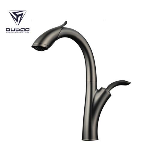 OUBAO Kitchen Sink Faucet New Design Gun Black Pull Down