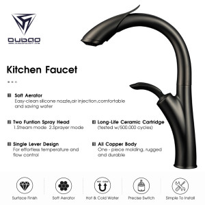 OUBAO New Design Gun Black Pull Down Kitchen Sink Faucet