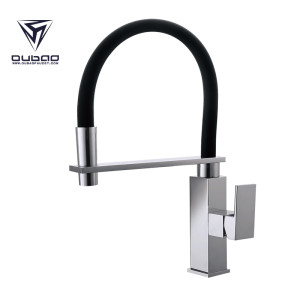 OUBAO Chrome Single Lever Kitchen Faucet With Pull Out Spray