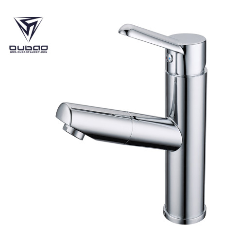 OUBAO Bathroom Water Tap commercial bathroom faucets Single Hole with Pull out Spray