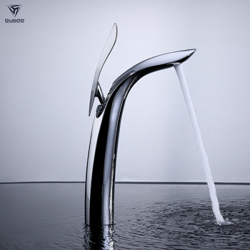 OUBAO Luxury Tall Bathroom Faucets Copper Sink Water Mixer Tap
