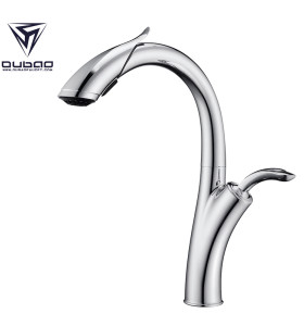 OUBAO Pull Down Kitchen Faucet Modern Chrome For Sink