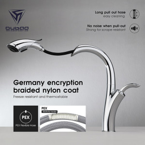 OUBAO Pull Down Kitchen Sink Tap Modern Chrome For Sink