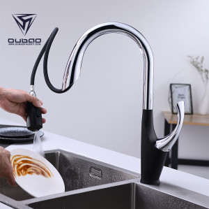 Sanitary ware single handle long neck kitchen faucet with pull-out spout