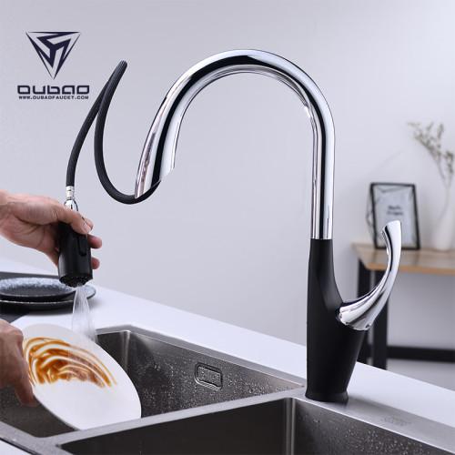 OUBAO Unique Pull Down Kitchen Faucet Flexible Best Single