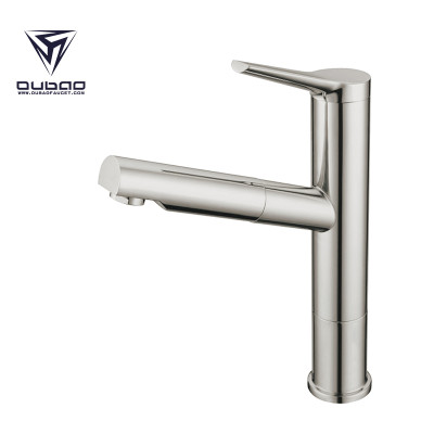 OUBAO Single Handle Pull Out Kitchen Faucet With Dual Spray