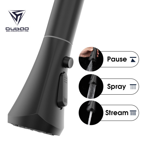 OUBAO Unique Kitchen Faucet For Sink Black Pull Down