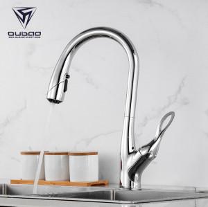 OUBAO Chrome Single Handle Flexible Kitchen Sink Faucet