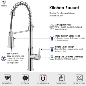 OUBAO Best Commercial Style Single Mixer Spring Kitchen Sink Faucet