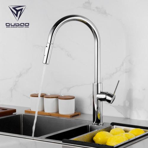 OUBAO Touch Sensor Kitchen Faucet Automatic Single Handle