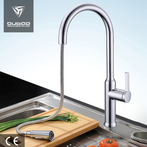 OUBAO High Arc Cool Chrom Polished Pull Down Kitchen Faucets
