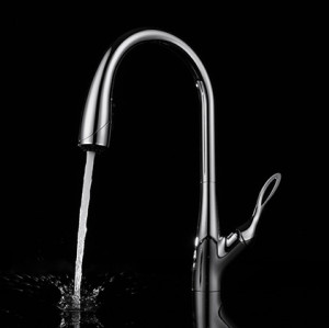 Low lead chrome goose neck kitchen sink mixer taps faucets with pull out spray