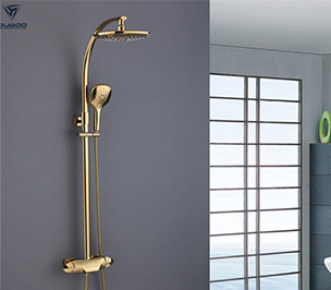 OUBAO Best Gold Brass One Handle Thermostatic Rain Shower Faucet Set