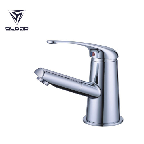 OUBAO Chrome Single Handle Vessel Sink Faucet for Bathroom