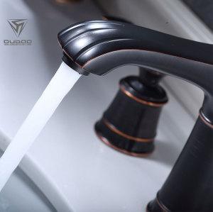 OUBAO Single Hole Oil Rubbed Bronze 8 inch Widespread Bathroom Faucet