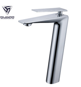 OUBAO Bahtroom Sink Faucet Modern Style Lavetory Tall Vessel High Arc