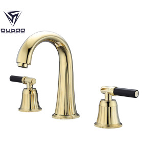 Modern Brass Two Handle Widespread Gold Bathroom Faucet