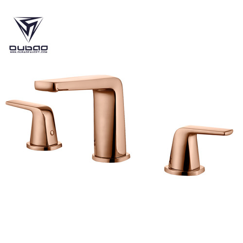 OUBAO Brass 8 Inch Windespread Rose Gold Basin Faucet Tap
