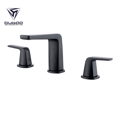 OUBAO Two Handle 8 Inch Matte Black Wisdespread Bathroom Faucet