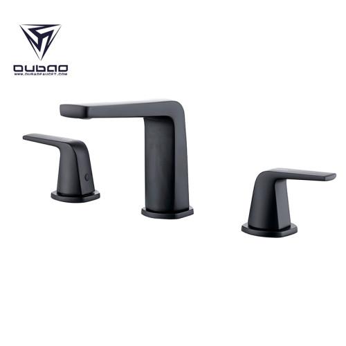 OUBAO Two Handle 8 Inch Matte Black Wisdespread Bathroom Faucet