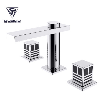 OUBAO Best Widespread Square Bathroom Faucet There Pieces