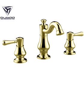 OUBAO 8 inch Gold Spread Widespread Bathroom Sink Faucet 3 piece
