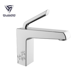OUBAO Chrome Square Bathroom Hand Basin Sink Mixer Taps