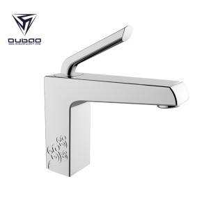 OUBAO Chrome Square Bathroom Hand Basin Sink Mixer Taps