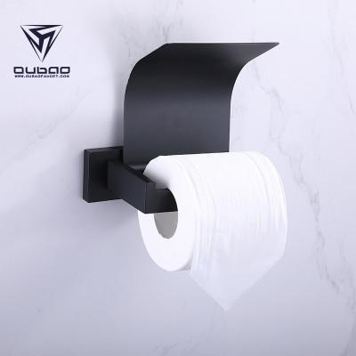 OUBAO  Modern Matte Black Tissue Roll Holder For Bathroom
