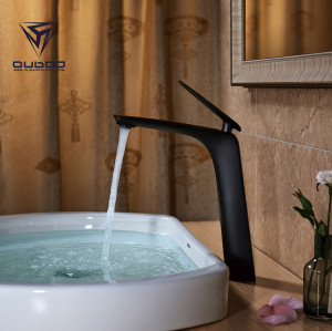 OUBAO Single Lever Black Tall Basin Mixer Tap