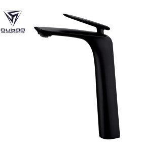 OUBAO Tall Basin Mixer Tap Single Lever Black