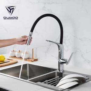 OUBAO Brass Copper Pull out Kitchen Faucet Tap with Silicone hose and Sprayer