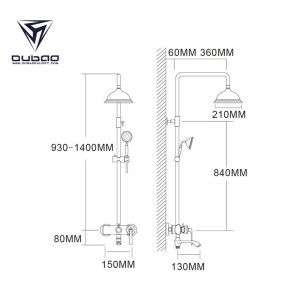 OUBAO Modern Shower Head System Shower Head And Thermostatic Faucet Set