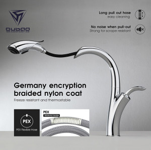 OUBAO Modern High End Chrome Kitchen Sink Water Faucets