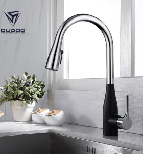 OUBAO Modern Pull Down Kitchen Sink Faucet High Flow One Hole