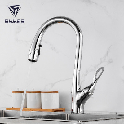 OUBAO Professional Pull Down Kitchen Faucet One Handle