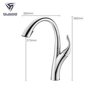 OUBAO Modern Deck Mounted Single Hole Pull Down Kitchen Faucet