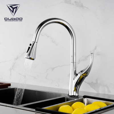 OUBAO Modern Single Handle Kitchen Faucet Pull Down Chrome Tap For Kitchen