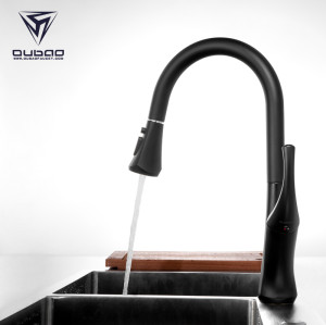 OUBAO Single Hole Black Pull Down Gosseneck Kitchen Sink Faucet