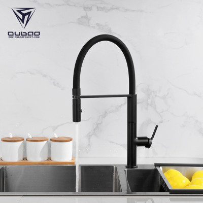 OUBAO Modern Kitchen Faucet Tap with Silicone Hose Pull Out Sprayer
