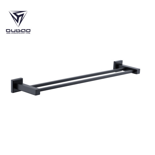 OUBAO Matte Black Bathroom Accessories Set with Towel Rack Holder and Toilet Roll Holder