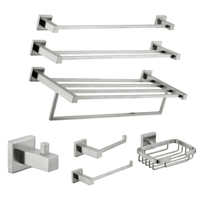 OUBAO Square Bathroom Accessories Brushed Nickel Unique Design