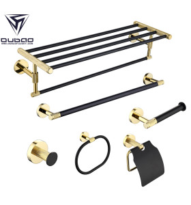 OUBAO Black and Gold Bathroom Accessories Sparkle Stylish Decor