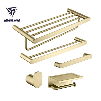 OUBAO Brushed Gold Bathroom Towel Holder Set with Towel Rail and Towel Bar