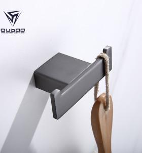 OUBAO Modern Bathroom Gun Black Single Robe Hooks