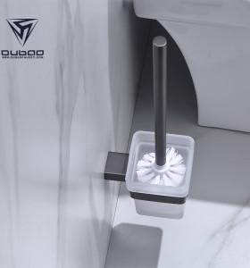 OUBAO Modern Family Gun Black Toilet Brush Holder Wall Mounted