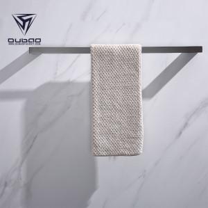 OUBAO Modern Bathroom Gun Black Wall Mounted Towel Rail