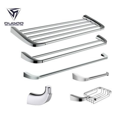 OUBAO 6-Piece Bathroom Hardware Accessories Set Wall Mounted Towel Holder Bar